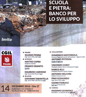 School and stone: A challenge for development. - Conference organised by CGIL Fillea - 2016